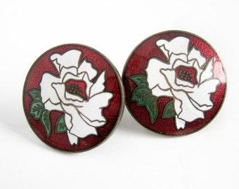 Vintage Floral Enamel Earrings / Enamel Cloisonne Flower Earrings / Red and White Screw Back Earrings