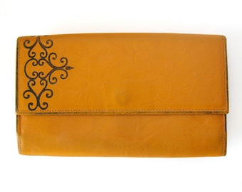 Vintage Leather Wallet Organizer - Princess Gardner Wallet and Checkbook Cover in Tan Cowhide