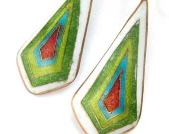Vintage Enamel Cloisonne Earrings in Greens / Modern Geometric Design / Dangling Pierced Earrings