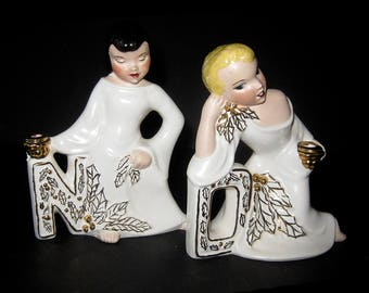 Vintage Christmas NOEL Candle Holder Set / Mid Century Exotic Pin-Up Style Figurines / White with Metallic Gold Accents