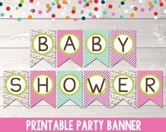 Instant Download Baby Shower Banner in Pink and Blue with Flowers Polka Dots & Chevron Stripes Printable PDF File