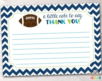 Boys Football Thank You Card, Printable Birthday Party or Baby Shower Thank You Card, Instant Download Kids Stationery