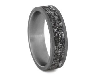 Handmade Mimetic Meteorite Ring, Sandblasted Titanium Wedding Band With Meteorite Engraving,