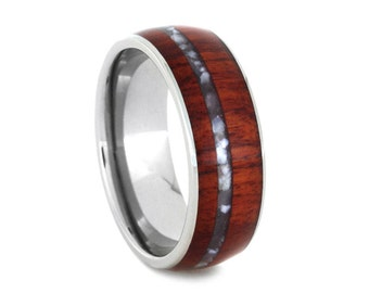 Mother of Pearl Ring, Titanium Wedding Band With Tulip Wood, Anniversary Rings For Women