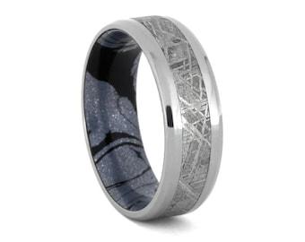 Men's Gibeon Meteorite Wedding Band, Cobaltium Mokume Ring With Titanium Edges, Custom Made Meteorite Jewelry