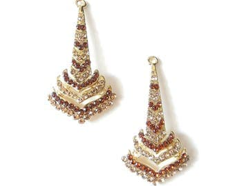 Pair of Art Deco Style Gold-tone Topaz Rhinestone Drop Charms