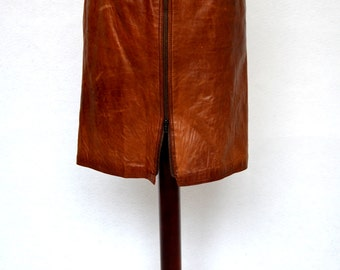 1970's Classic BROWN LEATHER High Waist SKIRT with an Amazing weathered and Worn Patina. Size Small.