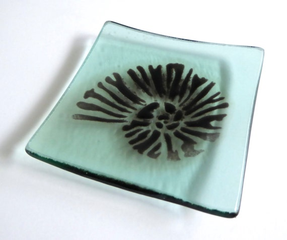 Pale Green Glass Ring Dish with Nautilus Shell