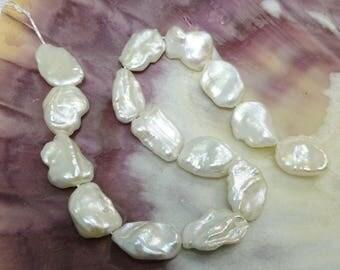 White Lustrous Keshi Pearls Set of 15 Designer DIY Petal 9 inches Large Rainbow Overtones Silver