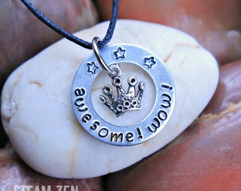 Awesome Wow Hamilton Inspired Hand stamped Necklace with Crown Charm - Hamilton Gift - Hamilfan Gift -