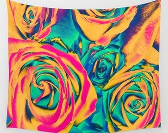 ROSES Pop Art Wall Tapestry, Flower Wall Art, Large Tapestry, Surreal Tapestry, Nature, Floral Decor, Feminine,Dorm,Rosebuds,Flower tapestry