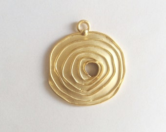 1pc- Matte Gold plated Round Spiral Pendant- 65x55mm-(017-053GP)
