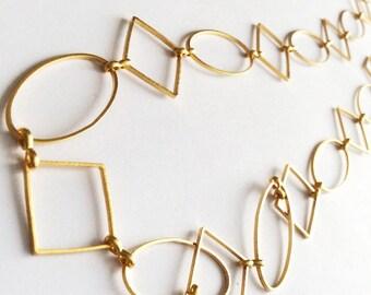 1 mt- Matte Gold Plated Geometric Shapes Chain- 25x25mm-(007-059GP)