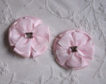 2pc Beaded w Stone Pink Satin Organza Ribbon Flower Applique Baby Doll Bridal Corsage Bow