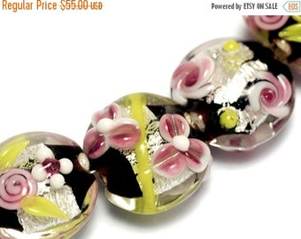 ON SALE 40% OFF Seven Pink/Black/Green Silver Foil Lentil Beads -10106502-Handmade Glass Lampwork Bead