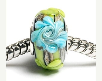 ON SALE 45% OFF Glass Lampwork Beads  - Large Hole Green w/Blue Flower Rondelle Bead  - Sc10038