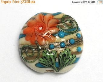 ON SALE 40% OFF Turquoise w/Brown Lentil Focal Bead - Handmade Glass Lampwork Bead 11809202