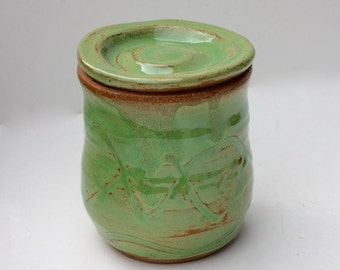 Stoneware Lidded Jar with Carved Decoration in Glossy Spring Green
