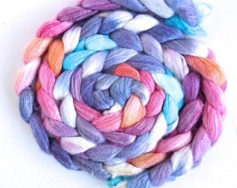 Merino/ Bamboo/ Silk Roving (Top) - Handpainted Spinning or Felting Fiber, Frosted Daybreak