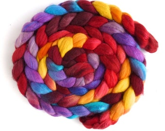 Organic Polwarth/Cultivated Silk Roving - Handpainted Spinning or Felting Fiber, Fall Fire
