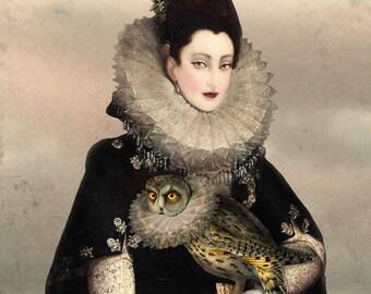 Owl Portrait Lady Elizabethan Collar Print Digital Art Black Grey Surreal Home Decor Goth Halloween