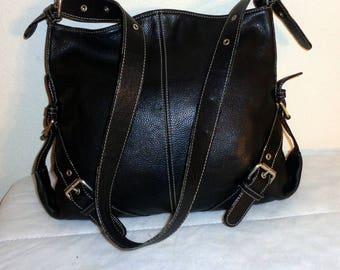 Tignanello thick black genuine leather cross body bag hobo, satchel, shoulder bag, city bag, work bag , wide strap vintage 90s excellent