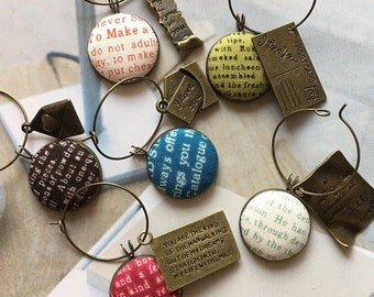 Handmade Retro Red Green Blue Words Script Book Lover Club Modern Fabric Button Wedding Party Valentine Mother Day Wine Charms