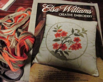 Elsa Williams Crewel Embroidery Kit Wilshire KA 615 Pillow Complete and Ready to Stitch
