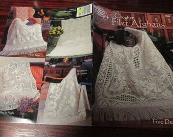 Afghan Crocheting Patterns Filet Afghans American School of Needlework 1300 Crochet Leaflet Rare and Hard to Find