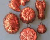 Vintage Copper Mold Lot Vintage Copper Molds Vintage Jello Mold Vintage Lobster Mold Vintage Copper Fish Mold