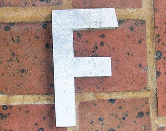 Vintage Metal Letter Sign Metal Letter F Sign Marquee Metal Letter F Sign Industrial Letter F Sign 6 Inches Tall