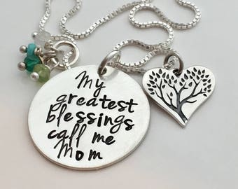 My Greatest Blessings Family Tree Necklace - Hand Stamped Jewelry - Personalized Necklace - Mom Necklace - Grandma Gift - Mother's Day Gift