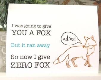 Happy Birthday Card - Zero Fox Given - Sarcastic - Funny - Offensive