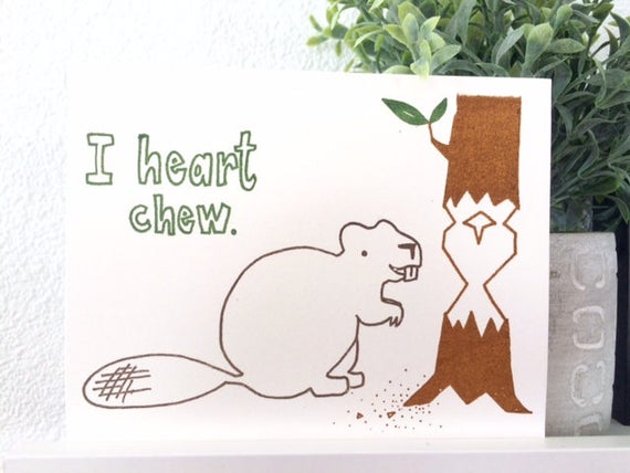 Love Card -I Heart Chew - Gocco Beaver Love Card from PaperMichelle