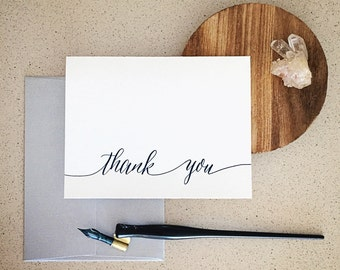 Thank You Modern Calligraphy Letterpress Card