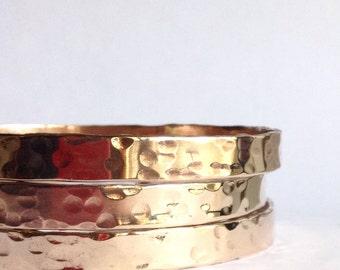 Single Hammered Bronze Bangle Bracelet - Bronze Anniversary Gift - 19th Anniversary -Bronze Stacking Bangles