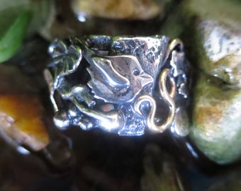 Sterling  Silver Brutalist Collage Ring Size 6