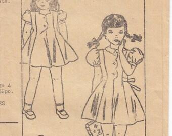 Vintage Pattern Mail Order 2125 Girl Dress 40s Size 4