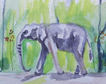 original watercolor painting ACEO elephant  ,2.5x3.5 inches