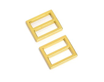"10pcs - 1"" (25mm) Flat Diecast Slide Buckle - Gold - (FBK-109) - Free Shipping"