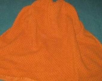 Crochet Hanging Towel rust coloredTowel with brown crochet top