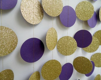 Gold Glitter and Purple Circle Garland, Paper Dot Garland, Wedding Reception Decor, Bridal Shower Decoration