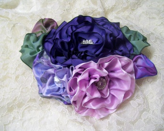 Ribbon Work Corsage Fascinator Hat, Easter Corsage, Millinery, Mother's Day Pin, PuRpLe and LaVender