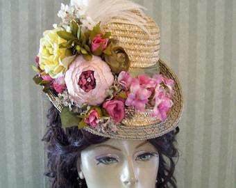 Victorian Hat, Downton Abbey Hat, Civil War Hat, Straw 1800s Style Hat, Victorian Tea Party Hat, Kentucky Derby HAt