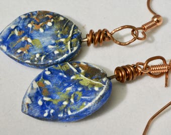 Woodsy Royal Blue Earrings, Flower Petal Earrings, Earthy Copper Earrings, Boho Floral Earrings, Blue Statement Earrings, Floral Jewelry