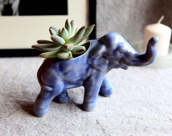 Ceramic Elephant Planter in Stoneware with Blue Ink Glaze