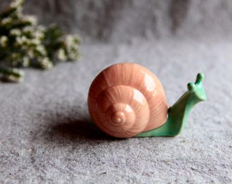 Snail Garden Sculpture in Stoneware with mint green and coral pink Glaze (small)