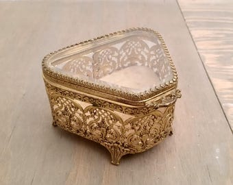 Vintage Brass and Glass Fan Shape Ormulo Jewel Casket or Trinket Box