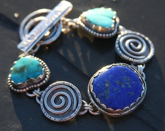 turquoise heart, lapis lazuli and sterling silver metalwork link bracelet