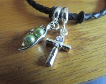 pea pod cross bracelet